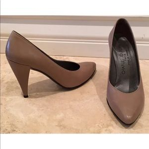 CHARLES JOURDAN Tan Classic Pumps Paris France